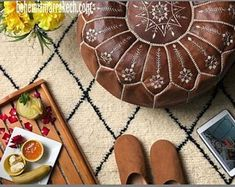 made of hand made Goat leather by handcrafts in Marrakech.Add an elegant touch to your living room with one of the Moroccan leather fashions! Leather Pouf Ottoman, Moroccan Leather Pouf, Moroccan Pouf, Crochet Pouf, Knitted Pouf, Marrakech, Baby Room Furniture, Square Pouf, Stitching Leather