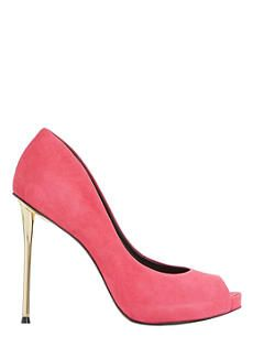DUNE Desiree suede peep-toe court shoes