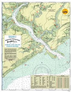 South Carolina: North and South Edisto Rivers from Sealake Products LLC #fishing #fishingchart #nautical