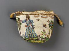 Drawstring bag  sablé  French, 1700–25