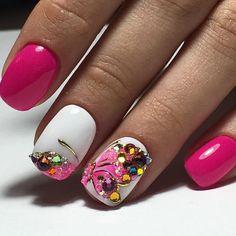 Cute Nail Art Ideas to Try - Nailschick Pink Manicure, Glam Nails, Hot Nails, Pink Nails, Beauty Nails, Nail Polish Designs, Nail Art Designs, Cute Nail Art, Beautiful Nail Designs
