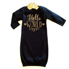 Hello World Gown Baby Girl Newborn Baby Girl by ShopVivaLaGlitter