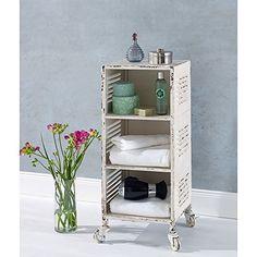 Der Rollcontainer im dekorativen Used-Look ist ein praktisches und schönes Wohnaccessoire. Er lässt sich als Badrollwagen, als Bürocontainer, Küchentrolley oder einfach als Beistelltisch einsetzen.  Das Antik-Finish verleiht dem Beistellwagen aus Metall den tollen Vintage-Look. Er ist mit 3 Fächern und 4 Rollen ausgestattet.  Maße: ca. Breite 32 x Tiefe 31 x Höhe 74 cm, Fachinnenmaße: Tiefe 31 x Breite 28 x Höhe 19,5 cm (3x)