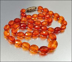 Art Deco Amber Bead Necklace Faceted Butterscotch by boylerpf, $100.00