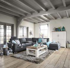Industrial Flooring, Wooden Flooring, Living Room Decor, Living Spaces, Bedroom Decor, Grey Walls, House Colors, Outdoor Furniture Sets, Decoration
