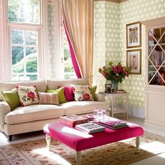 Green and pink, with a little bit of yellow. All of the pink and yellow rooms I'm seeing are either nurseries or very girly bedrooms. I'd like to make pink and yellow grown-up. This room pulls it off well. Is it the green? The balance of colors? I want mostly yellow, with just a few accents of pink, and maybe a tiny bit of green to help tone it down.