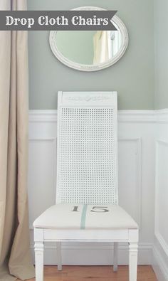 Drop cloth chairs. A 5 dollar drop cloth covered  2 cane chairs that where in the trash. Full tutorial @ City Farmhouse.