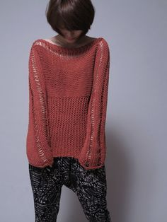 Mujer Jersey de punto a mano suéter de algodón por MaxMelody Suéter De  Algodón 6dbb53a547e1