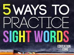 Five Ways to Practice Sight Words