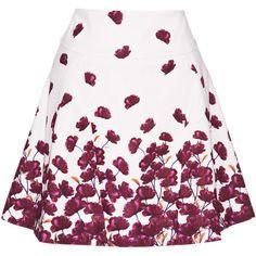 Suno Godet Flared Mini (13.765 UYU) ❤ liked on Polyvore featuring skirts, mini skirts, white high waisted skirt, short skirts, white mini skirt, floral skirt and short mini skirts