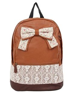 New Fashion Trendy Cute Korean Lace College Style Floral Print Leisure School Bag Outdoor Backpack for Teens Students Women Ladies Girls Brown:Amazon:Shoes