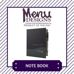 Product of the Day: Note Book!  Every guest room needs a note pad for taking notes, and our note pad holders are custom made to accommodate any hotel note pad. Each note pad holder is hand crafted using some of the finest materials and can also be made also to hold your pen. #productoftheday #menudesigns #design #hotel #hospitality #business #logo #brand #branding #marketing