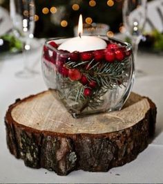 Christmas Berry Frost Table Centre Piece 2 Candle Holder 30cm Decoration