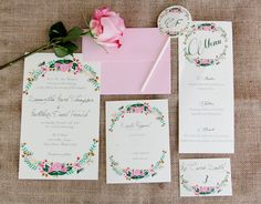 Pink Floral Foliage - Painted Wedding Invitation Suite. $355.00, via Etsy.