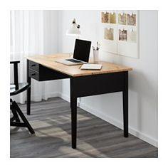 IKEA - ARKELSTORP, Skrivebord, , Massivt træ er et holdbart naturmateriale.Kan placeres midt i et rum, fordi bagsiden også er overfladebehandlet.Skuffestop forhindrer skufferne i at blive trukket for langt ud.