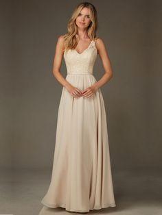V-NECK NATURAL A-LINE ZIPPER FLOOR-LENGTH LACE TOP CHIFFON BRIDESMAID DRESSES