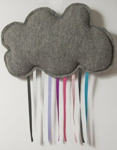 mimiBlog felt/fleece cloud with ribbon rain.  Idea maybe?