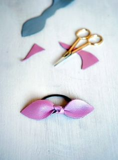 Diy Leather Bow Hair Tie #howto #tutorial