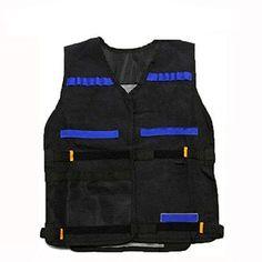Pixnor Veste tactique pour le Nerf N-Strike Elite Series noir: Couleur: Noir, bleu., dimensions: 54 * 47cm / 21,3 * 18,5 pouces Veste…