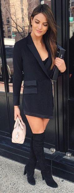 #allblackeverything #spring #style #outfit #ideas | Black Tailored |Kyra Santoro