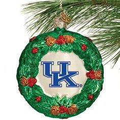Kentucky Wildcats Glass Wreath Ornament