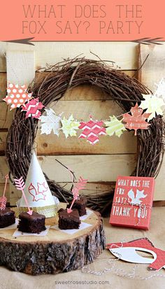 """Super adorable """"What Does the Fox Say?"""" Party ideas at Sweet Rose Studio! #DesignSpaceStar #Woodland #IntoTheWoods"""