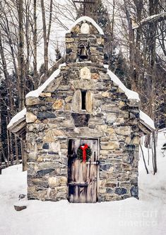 "Stone Chapel In The Woods of Stowe, Vermont:  There are over 60 kilometers of wooded hiking trails for all levels of ability. There is a short, peaceful hike to the Chapel, built by the Trapp family sons on their return home after World War II.  This is the ""Sound of Music"" family.  by Edward M. Fielding"