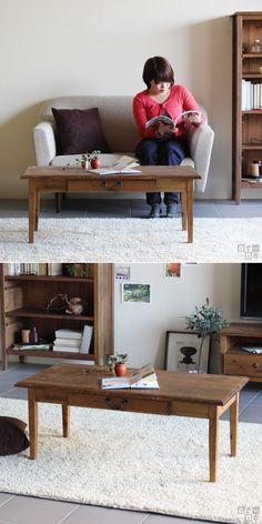 テーブルアンティーク調リビングテーブル幅100cmセンターテーブルローテーブルソファテーブル引き出し天然木木arcIIカフェテーブルブラウンウッドシャビーレトロカントリーおしゃれフランスフレンチ家具インテリア座卓パイン材100cm角型送料無料