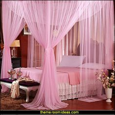 Canopy Mosquito Net Netting Bedding   romantic bedroom decorating ideas - romantic bedding ideas - romantic master bedroom ideas - Romantic Luxury decor - hearts and flowers Valentines Day style - valentines day bedroom ideas - heart shaped candles - heart shaped decorations