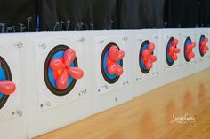 Archery party balloons on targets @ Archers Afield #archeryparty #target #birthday