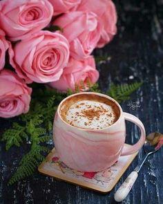 Coffee and flowers Coffee Cafe, Coffee Drinks, Coffee Shop, Good Morning Coffee, Coffee Break, I Love Coffee, My Coffee, Momento Cafe, Pause Café