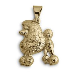 This unique,14k Gold Poodle Pendant will be a must have for the Poodle jewelry lover. This solid, not thin, gold poodle pendant dangles from a sturdy bail. Measures 1 inch tall by 5/8 inch wide.