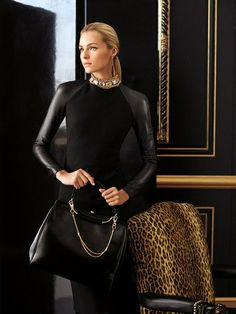 Ralph Lauren fashions leveraging black faux leather sleeves.  Faux leather fabric: http://www.MJTrends.com/categories-Matte-Vinyl,Fabric