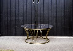 Mid century, round brass coffee table with glass top. Brass Coffee Table, Glass Top Coffee Table, Mid Century, Lounge, Furniture, Wedding Ideas, Home Decor, Airport Lounge, Drawing Rooms