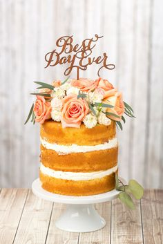 Rustic Best Day Ever Wedding Cake Topper. This design is finished with a rich lacquer, giving you an absolutely elegant take on the rustic styled look for your big day.