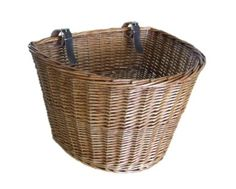 Medium Traditional Wicker Bicycle Front Basket with Leather Straps: Amazon.co.uk: Sports & Outdoors