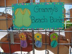 Handpainted Personalized Wood Flip Flop Sign by LazyHoundWorkshop