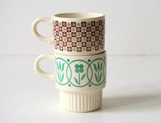 Floral Ceramic Mugs  by illkniterate on Etsy, $9.99