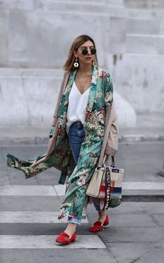 Green Floral Print Kimono + Red Shoes. @ouranak