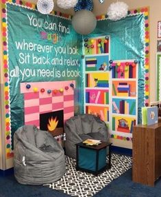 Classroom - This cozy reading corner would look perfect in a school library or classroom reading schoollibrary Classroom Setting, Classroom Design, Future Classroom, Classroom Organization, Reading Corner Classroom, Kindergarten Classroom Setup, Kindergarten Reading Corner, Classroom Decoration Ideas, Elementary Classroom Themes