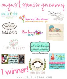 I want to win the big August Sponsor Giveaway at lilblueboo.com Check out this great blog and contest!!!