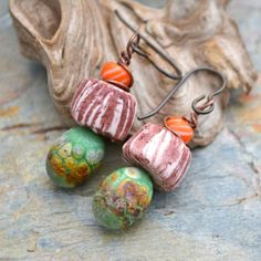 Handmade Pistachio and Orange Glass and Polymer Clay Earrings | KristiBowmanDesign - Jewelry on ArtFire