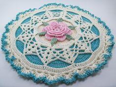Rose Potholder Crochet Pattern Shabby Chic Cottage Chic/ 2 edging variations***Crochet Pattern #205 by SilkyStitches on Etsy