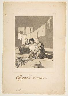 Yes, He Broke the Pot (Si quebró el cantaro), from The Caprices (Los Caprichos), plate 25  Goya (Francisco de Goya y Lucientes) (Spanish, Fuendetodos 1746–1828 Bordeaux)