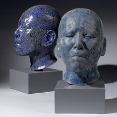 Ceramic Heads by Takahiro Kondo. Internationally aclaimed artist Takahiro Kondo is known for his silver mist works, which combine porcelain and glass with precious metals to represent different states of water. Sculpture Head, Lion Sculpture, Clay Sculptures, Ceramic Figures, Ceramic Art, Africa Craft, Ceramic Sculpture Figurative, Art Object, Surreal Art