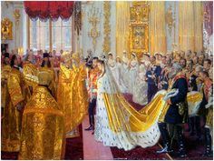 The Wedding of Emperor Nicholas II and Empress Alexandra Feodrovna, 1895  by Laurits Regner Tuxen    Signed and dated bottom left: L. Tuxen 1895  Oil on canvas, 65.5 x 87.5 cm    The marriage of Nicholas and Alexandra took place shortly after the death of Alexander III, on November 14, 1894, Empress Marie Feodorovna's birthday; the state of official mourning was lifted for that one day. This painting is a preparatory work for a larger picture now hanging at Buckingham Palace in London…