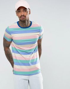 ASOS Muscle T-Shirt With Pastel Stripe - Multi