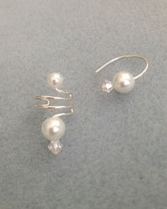 WEE WIRES Pearl and Tiny Crystal by TheLazyLeopard on Etsy