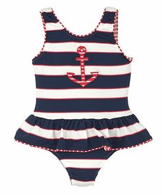 Florence Eiseman Girls Navy Blue Regatta Stripes Ruffle Swimsuit with Red Anchor Baby Girl Swimsuit, Ruffle Swimsuit, Striped Swimsuit, Red Swimsuit, Kids Swimwear, Swimsuits, Swimsuit Edition, Kids Suits, Tween