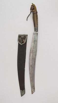 Knife (Bolo) with Sheath. Date: 18th–19th century. Culture: Philippine. Medium: Steel, horn, leather, silver.